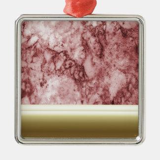 Rosa Marmor mit goldenen Streifen Quadratisches Silberfarbenes Ornament