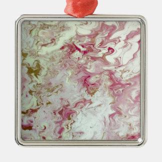 Rosa Marmor Quadratisches Silberfarbenes Ornament