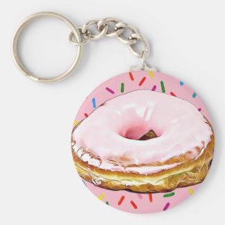 Rosa mattierter Erdbeerkrapfen-Schlüsselkette Schlüsselanhänger