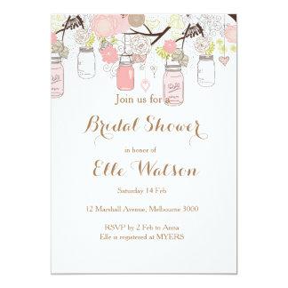 Rosa Maurer-Glas-Brautparty-Einladung Karte