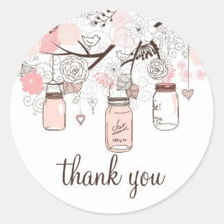 Rosa Maurer-Gläser und Liebe-Vögel danken Ihnen Runder Aufkleber