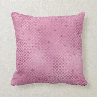 Rosa Meerjungfrau-Skalen Kissen