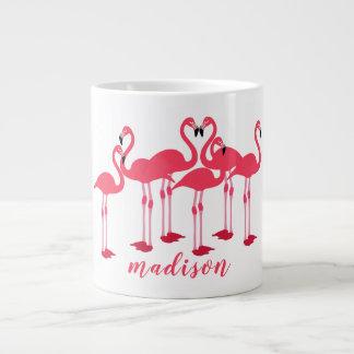 Rosa Menge der Flamingo-themenorientierten Schale Jumbo-Tasse