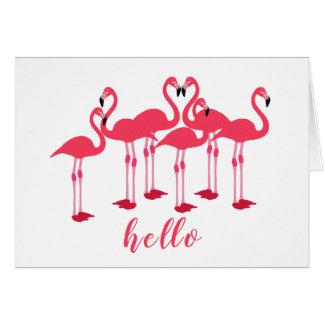 "Rosa Menge der Flamingos ""hallo"" Anmerkung Karte"
