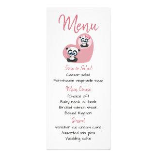 Rosa Menü-Pandateddy-Bärn-Herz-Hochzeits-Party Werbekarte