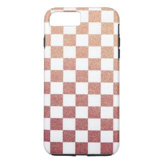 Rosa metallischer Gingham-Karo iPhone 8 Plus/7 Plus Hülle