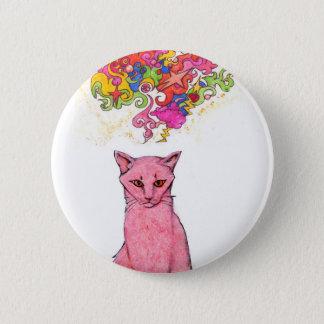 Rosa Miezekatze mit psychedelischen Gedanken Runder Button 5,1 Cm