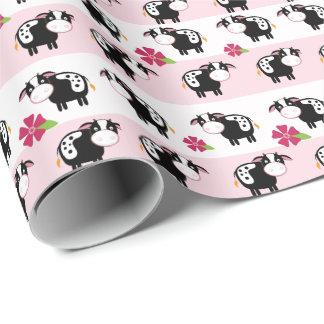 Rosa Milchkuh-Bauernhof-Thema-Packpapier Geschenkpapier