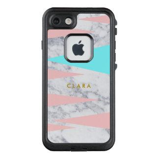 rosa Minze der eleganten weißen geometrischen LifeProof FRÄ' iPhone 8/7 Hülle