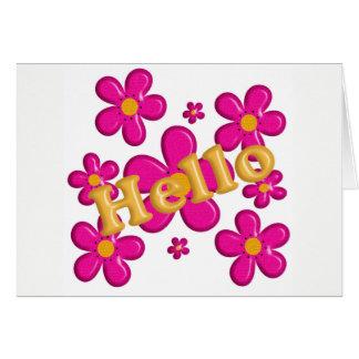 Rosa mit Blumenelement. Hallo Karte