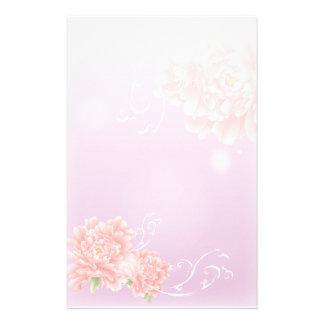 rosa mit Blumenpfingstrose des girly schicken Briefpapier