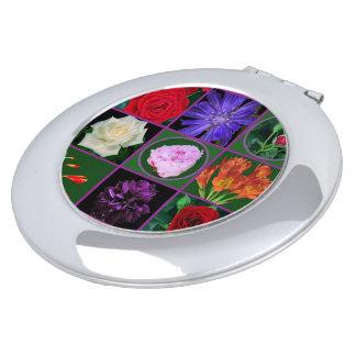 Rosa Mit BlumenRose der kompakten Spiegel-Blumen Schminkspiegel