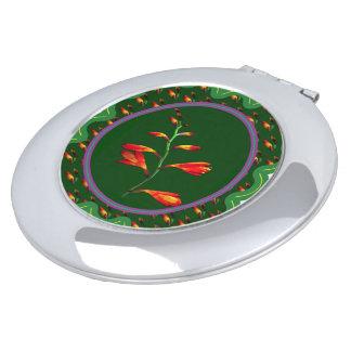 Rosa Mit BlumenRose der kompakten Spiegel-Blumen Taschenspiegel