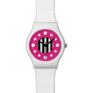 Rosa mit Schwarzweiss-Streifen-Uhr Armbanduhr