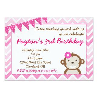 Rosa Mod-Affe-Geburtstags-Party Einladung