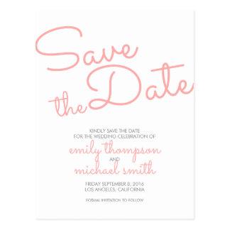 Rosa moderne Typografie, die Save the Date Wedding Postkarte