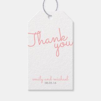 Rosa moderne Typografie-Gastgeschenk Hochzeit Geschenkanhänger