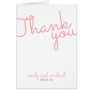 Rosa moderne Typografie-Hochzeit danken Ihnen Mitteilungskarte