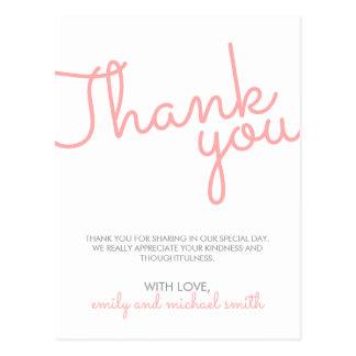 Rosa moderne Typografie-Hochzeit danken Ihnen Postkarte