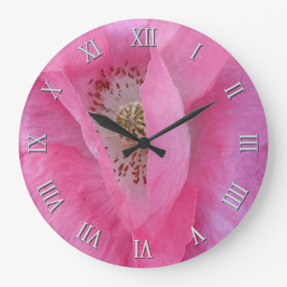 Rosa Mohnblume Blume-Liebhaber Designer-Uhr Große Wanduhr