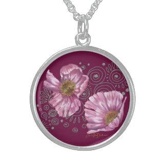 Rosa Mohnblumen auf silbernen Spiralen Sterling Silberkette