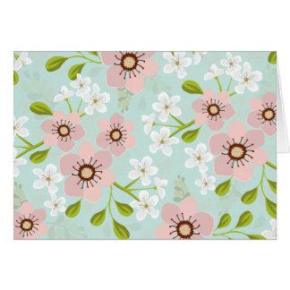 Rosa Mohnblumen-Garten BlumenNotecard Karte
