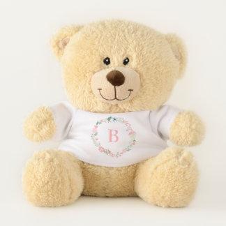 Rosa Monogramm-BlumenKranz Teddybär