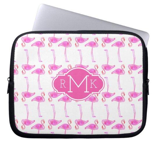 Rosa Monogramm des Flamingo-Muster-| Laptopschutzhülle