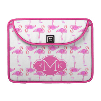 Rosa Monogramm des Flamingo-Muster-| MacBook Pro Sleeve
