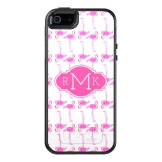 Rosa Monogramm des Flamingo-Muster-| OtterBox iPhone 5/5s/SE Hülle