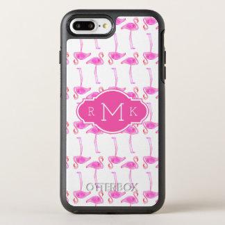 Rosa Monogramm des Flamingo-Muster-  OtterBox Symmetry iPhone 8 Plus/7 Plus Hülle