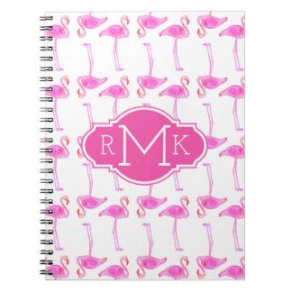 Rosa Monogramm des Flamingo-Muster-| Spiral Notizblock