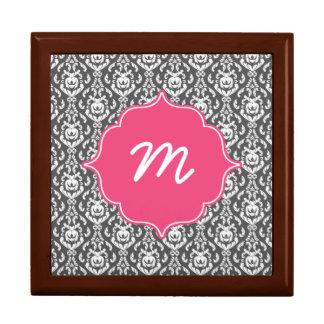 Rosa Monogramm-dunkelgrauer Damast Geschenkbox