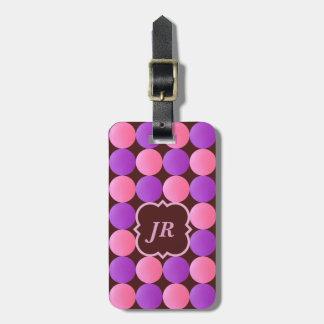 Rosa Monogramm-Gepäckanhänger geometrisches Kofferanhänger