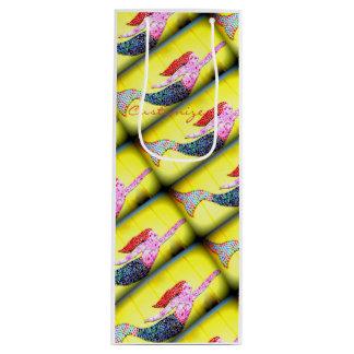 rosa Mosaikmeerjungfrausteigen Geschenktüte Für Weinflaschen
