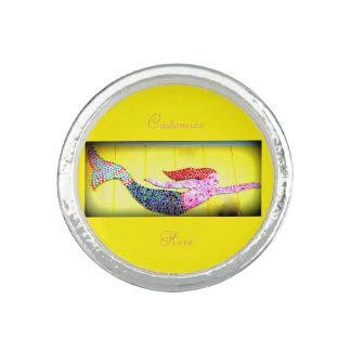 rosa Mosaikunterwassermeerjungfrau Foto Ringe