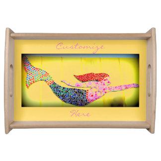 rosa Mosaikunterwassermeerjungfrau Tablett