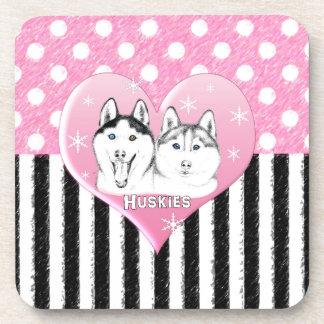 Rosa Muster des Huskieses Getränkeuntersetzer