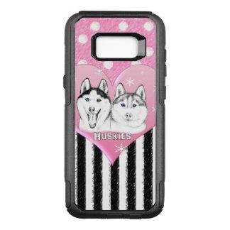 Rosa Muster des niedlichen Huskieses OtterBox Commuter Samsung Galaxy S8+ Hülle