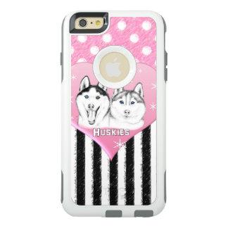 Rosa Muster des niedlichen Huskieses OtterBox iPhone 6/6s Plus Hülle