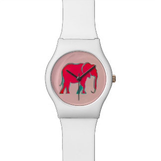 Rosa mutiger Cartoon-Elefant-modernes Girly Armbanduhr