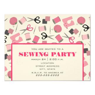 Rosa nähende Party Einladung