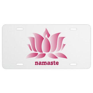 rosa namaste Lotos des Yoga US Nummernschild