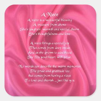 Rosa - Nichten-Gedicht Quadratischer Aufkleber