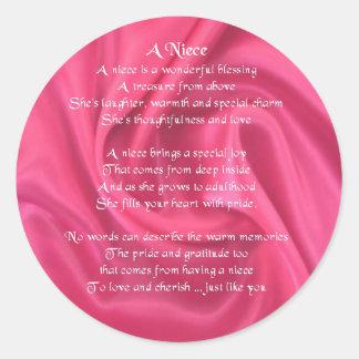 Rosa - Nichten-Gedicht Runder Aufkleber