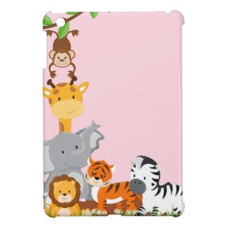 Rosa niedliche Dschungel-Baby-Tiere umkleiden das iPad Mini Hülle