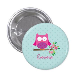 Rosa niedliche Eulen-personalisierter Knopf Anstecknadelbutton