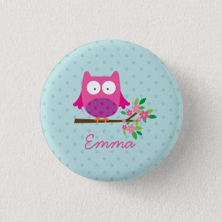 Rosa niedliche Eulen-personalisierter Knopf Runder Button 2,5 Cm