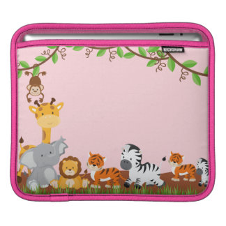 Rosa niedliches Dschungel-Baby TieriPad Hülse iPad Sleeve