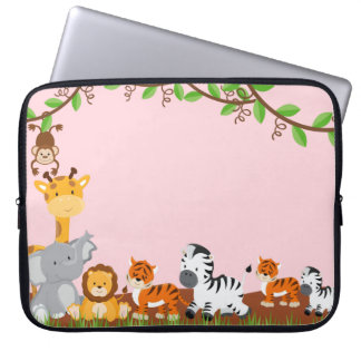 Rosa niedliches Dschungel-Baby-Tierlaptop-Hülse Laptopschutzhülle